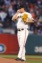 May 24, 2011; San Francisco, CA, USA;  San Francisco Giants starting pitcher Matt Cain (18) walks up the pitchers mound against the Florida Marlins during the fourth inning at AT&T Park. Florida defeated San Francisco 5-1.