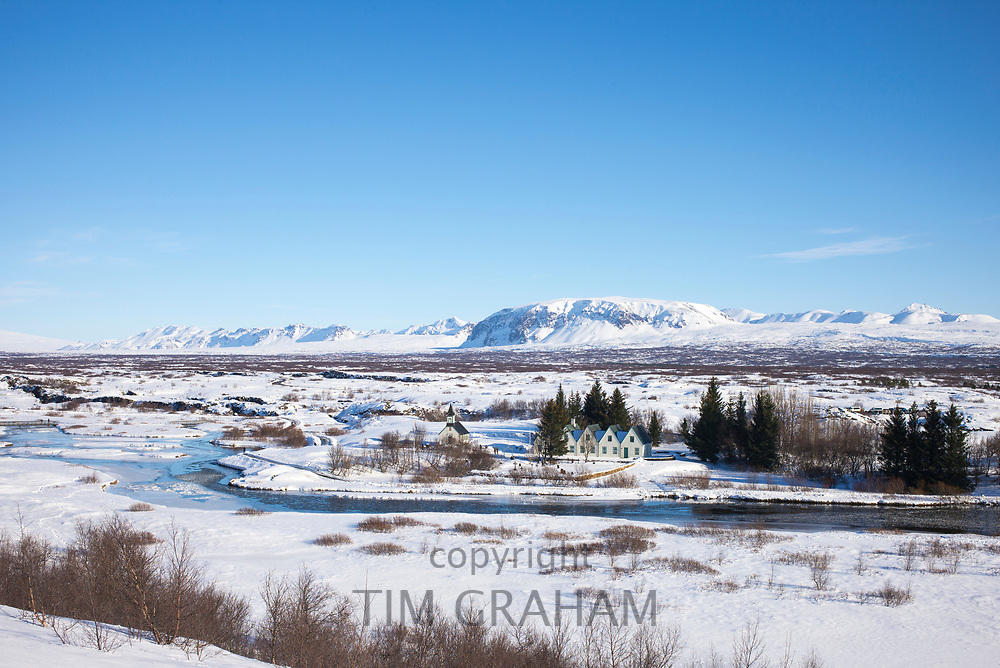 View from above of snow-covered, famous tourist sight Thingvellir National Park - Pingvellir -  in Iceland