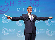 "CNN International Correspondent Richard Quest moderates the Cruise Shipping Miami conference annual ""State of the Industry"" address with cruise line executives MSC Cruises executive chairman Pierfrancesco Vago, Carnival Corp. president and CEO Arnold Donald, Norwegian Cruise Line Holdings president and CEO Frank Del Rio and Royal Caribbean Cruises chair Richard Fain at the Miami Beach Convention Center on Tuesday, March 17, 2015."