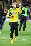 Norwich City midfielder Todd Cantwell (36) celebrating promotion after the EFL Sky Bet Championship match between Norwich City and Blackburn Rovers at Carrow Road, Norwich, England on 27 April 2019.
