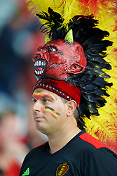 LILLE, FRANCE - Friday, July 1, 2016: A Belgium supporter wearing a large skull and feather headdress before the UEFA Euro 2016 Championship Quarter-Final match against Wales at the Stade Pierre Mauroy. (Pic by David Rawcliffe/Propaganda)