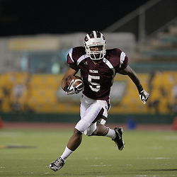 31 October, 2008:  St. Thomas Aquinas RB/CB Josh Reed  (#5) The St. Thomas Falcons recorded their first shut out of the season with a 41-0 shutout of the Southern Lab Kittens at Strawberry Stadium in Hammond, LA.