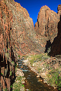 In Bright Angel Canyon near Phantom Ranch at the bottom of the Grand Canyon is an area known as 'The Box.' Here the canyon walls rise nearly vertically above the North Kaibab Trail and Bright Angel Creek.