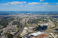Aerial photo of the Downtown Nashville Skyline showing The Tennessee State Fairgrounds, I-65 and Franklin Road.