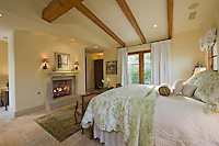 Bedroom interior with fireplace