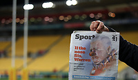 Rugby Union - 2017 British & Irish Lions Tour of New Zealand - Hurricanes vs. British & Irish Lions<br /> <br /> The front page of the New Zealand Herald showing Warren Gatland Head Coach of The British and Irish Lions at Westpac Stadium, Wellington.<br /> <br /> COLORSPORT/LYNNE CAMERON