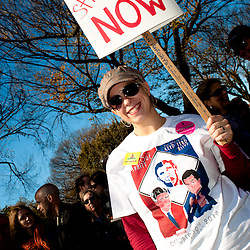 "Washington, DC, October 30, 2010 - Jon Stewert and Steven Colbert host the Rally To Restore Sanity and/or Fear.  Tens of thousands of ralliers donned costumes and carried signs.  ""DC Statehood NOW"""