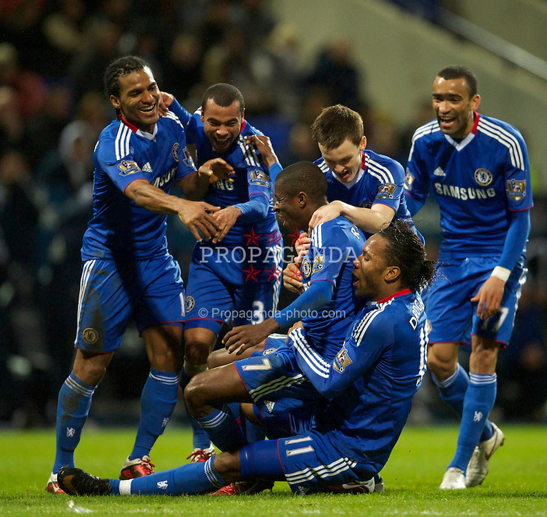 BOLTON, ENGLAND - Monday, January 24, 2011: Chelsea's Ramires celebrates scoring the fourth goal against Bolton Wanderers with team-mates during the Premiership match at the Reebok Stadium. (Photo by David Rawcliffe/Propaganda)