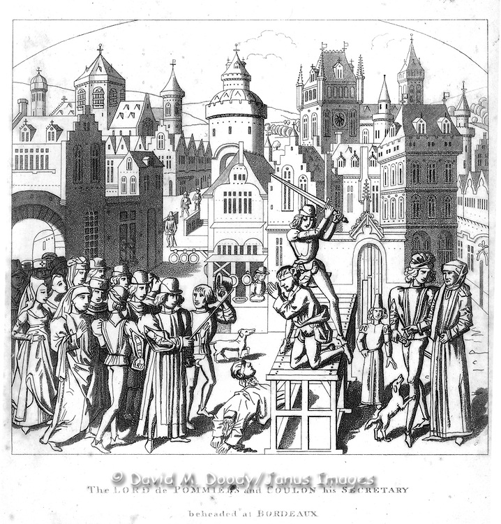 """woodcut """"The Lord De Pommiets and Coulon his secretary beheaded at Bordeaux"""" From  """"Chronicles of England"""" 1806 by Froissart"""