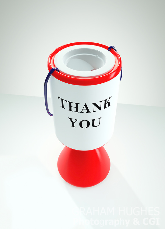 "Red Charity Collection Box with ""Thank You"" words on label"