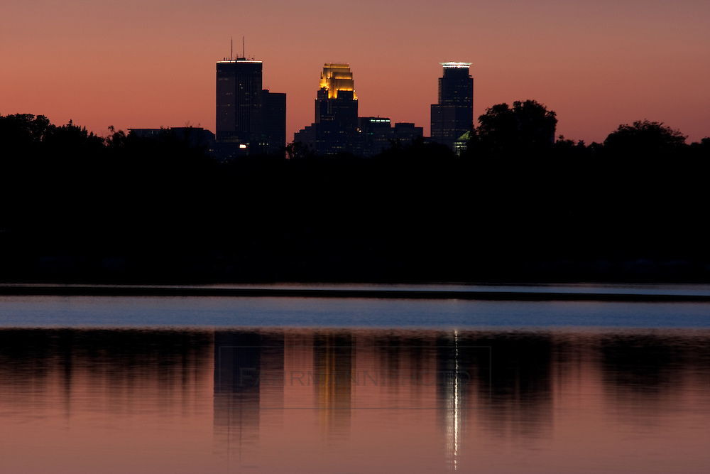The skyline of Minneapolis as seen from the shores of Lake Nokomis in South Minneapolis