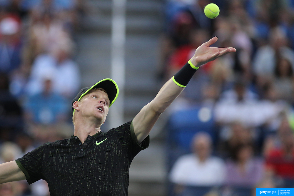 2016 U.S. Open - Day 5  Kyle Edmund of Great Britain in action against John Isner of the United States in the Men's Singles round three match on Louis Armstrong Stadium on day five of the 2016 US Open Tennis Tournament at the USTA Billie Jean King National Tennis Center on September 2, 2016 in Flushing, Queens, New York City.  (Photo by Tim Clayton/Corbis via Getty Images)