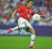 Wembley, Great Britain,..Description: JPN Mid fielder, Nahomi KAWASUNI. sets herself up for a shot at goal during the 2-1  defeat of  Japan by the USA Women's Football Team to win the Gold Medal. 2012 London Olympic , Women's Football, Gold Medal Match at Wembley Stadium, USA vs Japan, .. ..20:12:01  Thursday  09/08/2012 [Mandatory Credit: Peter Spurrier/Intersport Images]