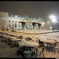 Nella foto Piazza Carlo Alberto.. Turin under snow, Torino sotto la neve.