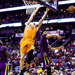 Feb 6, 2017; New Orleans, LA, USA; Phoenix Suns guard Devin Booker (1) is blocked by New Orleans Pelicans forward Anthony Davis (23) during the second half of a game at the Smoothie King Center. The Pelicans defeated the Suns 111-106. Mandatory Credit: Derick E. Hingle-USA TODAY Sports