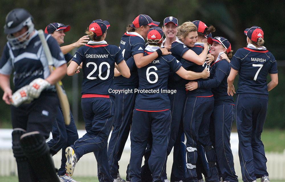 Sydney-March 14: England celebrate victory after the dismissal of Rachel Priest during the match between England and New Zealand in the Super 6 stage of the ICC Women's World Cup Cricket tournament at Bankstown Oval, Sydney, Australia on March 14 2009, England won the match by 31 runs. Photo by Tim Clayton.