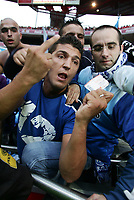 LISBOA 17 OCTOBER  2004: FC PORTO SUPPORTER shows is ticket for the match, after SL Benfica refused to sell tickets to FC Porto supporters , in the, 6¼ leg of the Super Liga, season 2004/2005, match SL Benfica v  FC Porto, held in Luz stadium, 17/10/2004  19:45<br />(PHOTO BY: NUNO ALEGRIA / AFCD)