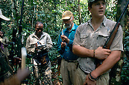 Dr. Mike Loomis prepares the dart for anaesthetizing a bongo, the forest antelope, in order to put a satelitte tracking collar for purposes of conservation management.