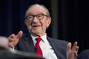 Former Chair of the Federal Reserve of the United States, Alan Greenspan speaks at a conference at the National Association of Business Economics, NABE.