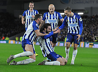 Football - 2019 / 2020 Premier League - Brighton & Hove Albion vs. Wolverhampton Wanderers<br /> <br /> Davy Propper of Brighton celebrates scoring goal no 2 with Dale Stephens and other team mates at The Amex.<br /> <br /> COLORSPORT/ANDREW COWIE