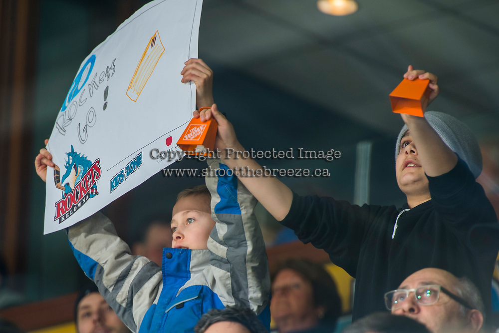 KELOWNA, CANADA - FEBRUARY 23:  Fans hold up signs on February 23, 2018 at Prospera Place in Kelowna, British Columbia, Canada.  (Photo by Marissa Baecker/Shoot the Breeze)  *** Local Caption ***