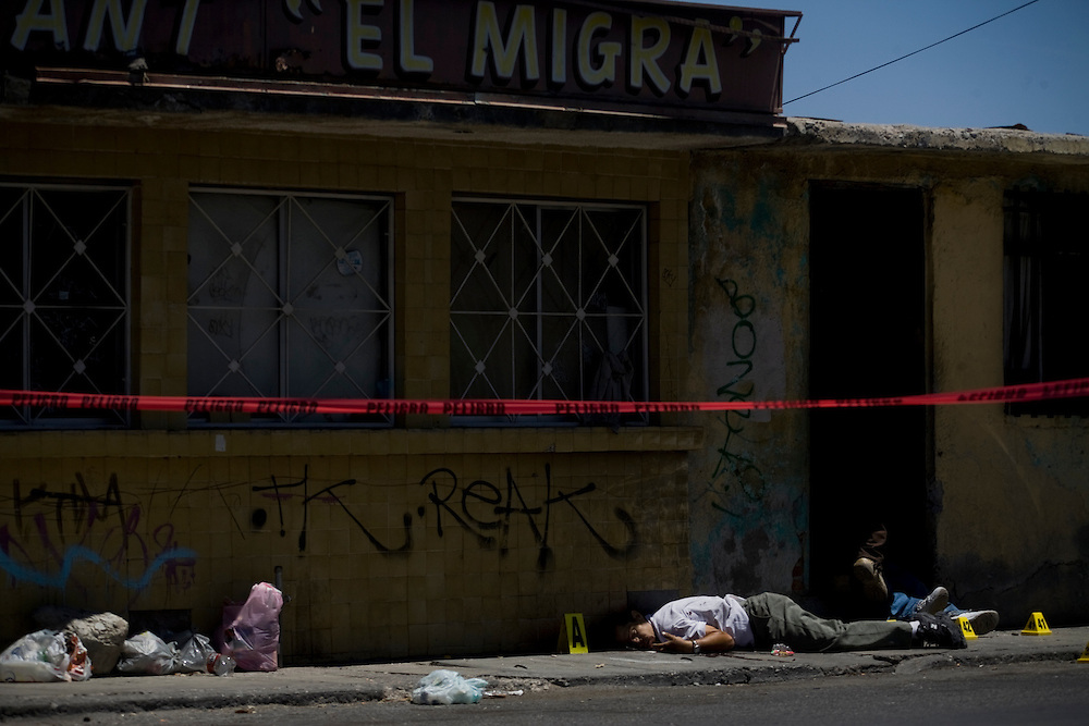 A murder scene of three individuals in Ciudad Juarez, Chihuahua on May 19, 2010.