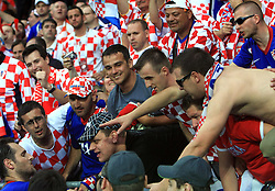 Fans of Croatia with Josip Simunic of Croatia after the UEFA EURO 2008 Group B soccer match between Austria and Croatia at Ernst-Happel Stadium, on June 8,2008, in Vienna, Austria.  (Photo by Vid Ponikvar / Sportal Images)
