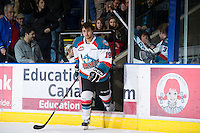 KELOWNA, CANADA - JANUARY 11:  Dylen McKinlay #19 of the Kelowna Rockets skates onto the ice to accept a star of the game award against the Tri City Americans at the Kelowna Rockets on January 11, 2013 at Prospera Place in Kelowna, British Columbia, Canada (Photo by Marissa Baecker/Shoot the Breeze) *** Local Caption ***
