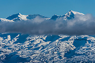 Snow capped peaks and slopes of Mt Ruapehu.