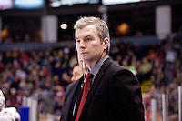 KELOWNA, CANADA, DECEMBER 27: Kim Dillabaugh, coach of the Kelowna rockets stands on the bench opposite the Spokane Chiefs at the Kelowna Rockets on December 7, 2011 at Prospera Place in Kelowna, British Columbia, Canada (Photo by Marissa Baecker/Getty Images) *** Local Caption ***