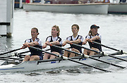 Henley on Thames, United Kingdom, Women's Quadruple Scull <br /> Marlow RC And Upper Thames RC  (Blue a nd white tee shirts)    Annual 2002 Henley Royal Regatta, Henley Reach, River Thames, England, [Mandatory Credit: Peter Spurrier/Intersport Images] 20020703 Henley Royal Regatta, Henley, Great Britain