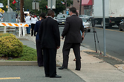 White House Secret Service agents direct spectators to the secure area.