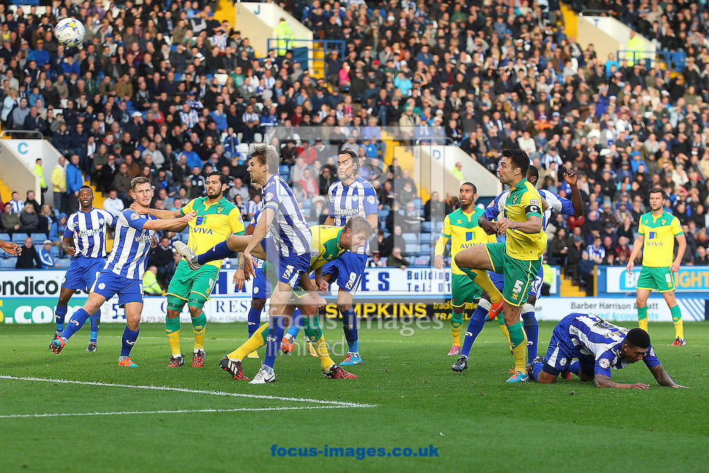 Russell Martin of Norwich heads for goal and narrowly misses during the Sky Bet Championship match at Hillsborough, Sheffield<br /> Picture by Paul Chesterton/Focus Images Ltd +44 7904 640267<br /> 25/10/2014