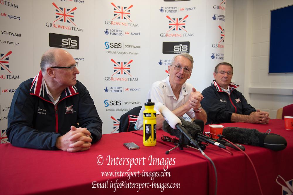 Caversham. Berkshire. UK<br /> Press Conference Top Table. left Paul THOMPSON, David TANNER and Jurgan GROBLER. <br /> 2016 GBRowing European Team Announcement,  <br /> <br /> Wednesday  06/04/2016 <br /> <br /> [Mandatory Credit; Peter SPURRIER/Intersport-images]
