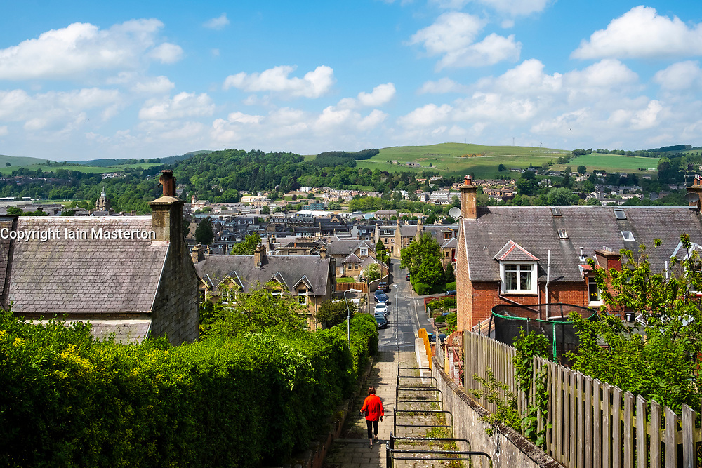 View over the town of Hawick in the Scottish Borders, Scotland, UK