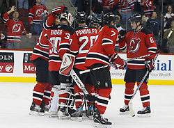 November 8, 2007; Newark, NJ, USA;   The New Jersey Devils celebrate their 4-1 win over the Philadelphia Flyers at the Prudential Center in Newark, NJ.  The win was the 499th win of New Jersey Devils goalie Martin Brodeur's (30) career.