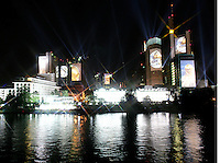 Feature Skyline Frankfurt a. M.          Zur Feier der Fussball-Weltmeisterschaft werden in Frankfurt am Main nachts ueberdimensionale Fotos der vergangenen Fussball-Weltmeisterschaften auf die Skyline der Stadt projeziert, untermalt mit Musik und Lichteffekten.