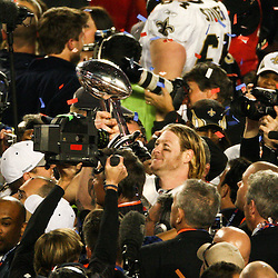2010 February 07: New Orleans Saints tight end Jeremy Shockey (88) celebrates on the field with the Vince Lombardi Trophy following a 31-17 win by the New Orleans Saints over the Indianapolis Colts in Super Bowl XLIV at Sun Life Stadium in Miami, Florida.