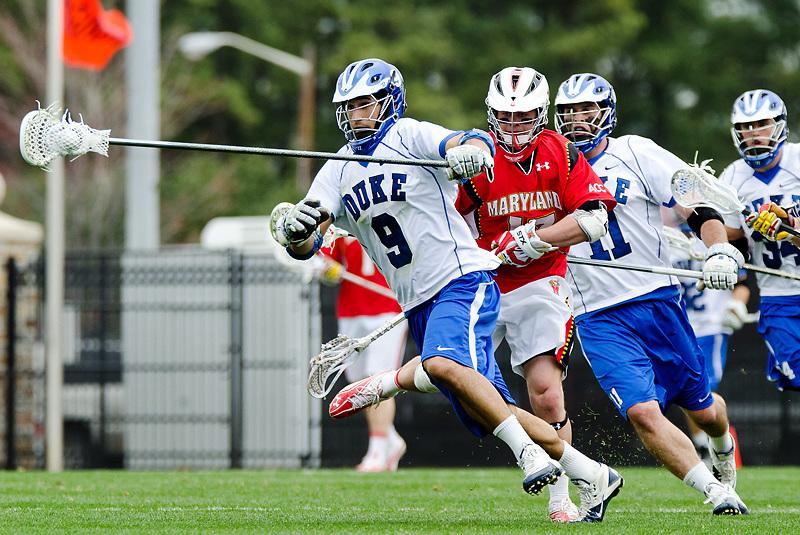 March 5 2011:Duke long stick midfielder CJ Costabile (9) races up field.