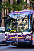 01 AUGUST 2020 - DES MOINES, IOWA: A bus with a sign urging people to wear masks in Des Moines Saturday. About 50 doctors, medical professionals, and public health professionals from across Iowa came to the State Capitol to demand that Iowa Governor Kim Reynolds impose a mask mandate to control the spread of the coronavirus (SARS-CoV-2). Despite the continued spread of the coronavirus and rapidly increasing infection rate for COVID-19, the Governor has refused to impose a mask mandate or close businesses. For the week ending Saturday, Aug. 1, Iowa reported new 2,736 new cases of COVID-19.             PHOTO BY JACK KURTZ