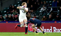 Harriet Millar-Mills of England passes the ball as she is tackled - Mandatory by-line: Robbie Stephenson/JMP - 04/02/2017 - RUGBY - Twickenham - London, England - England v France - Women's Six Nations