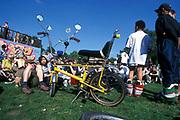 Yellow chopper bike in the park