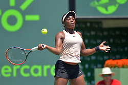 March 26, 2018 - Miami, FL, United States - KEY BISCAYNE, FL - March, 26:Sloane Stephens in action here, defeats Garbine Muguruza (ESP)  63 64 during the 2018 Miami Open on March 24, 2018, at the Tennis Center at Crandon Park in Key Biscayne, FL. (Credit Image: © Andrew Patron via ZUMA Wire)