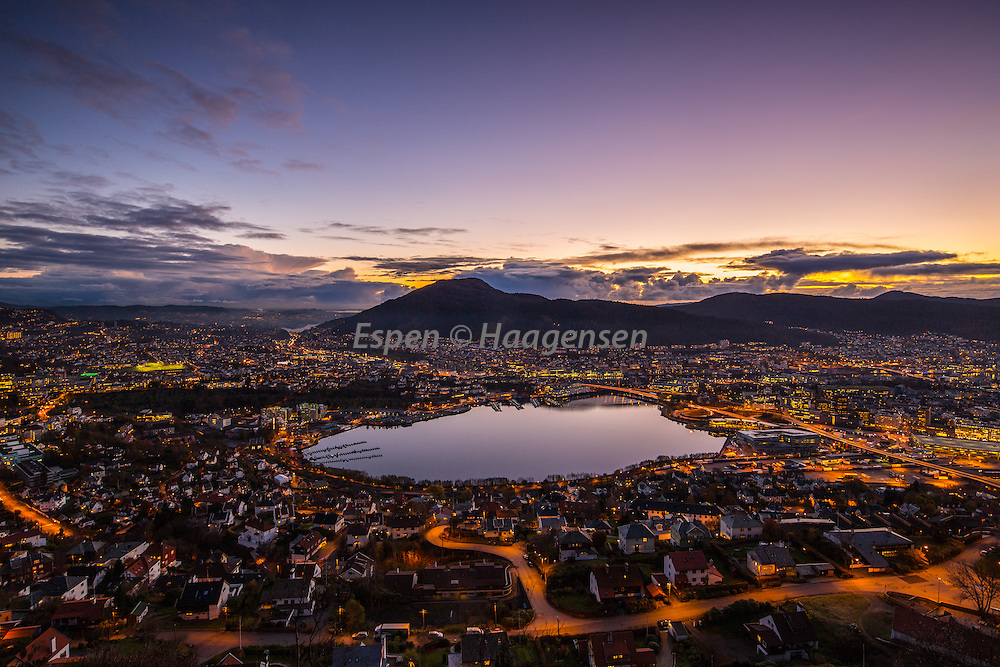 Colorful sunset from Fløyen