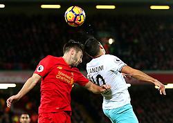 Adam Lallana of Liverpool challenges Manuel Lanzini of West Ham United - Mandatory by-line: Matt McNulty/JMP - 11/12/2016 - FOOTBALL - Anfield - Liverpool, England - Liverpool v West Ham United - Premier League