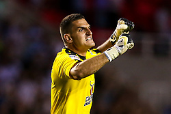 Vito Mannone of Reading celebrates Jon Dadi Bodvarsson scoring a goal to make it 1-0 - Mandatory by-line: Robbie Stephenson/JMP - 03/08/2018 - FOOTBALL - Madejski Stadium - Reading, England - Reading v Derby County - Sky Bet Championship