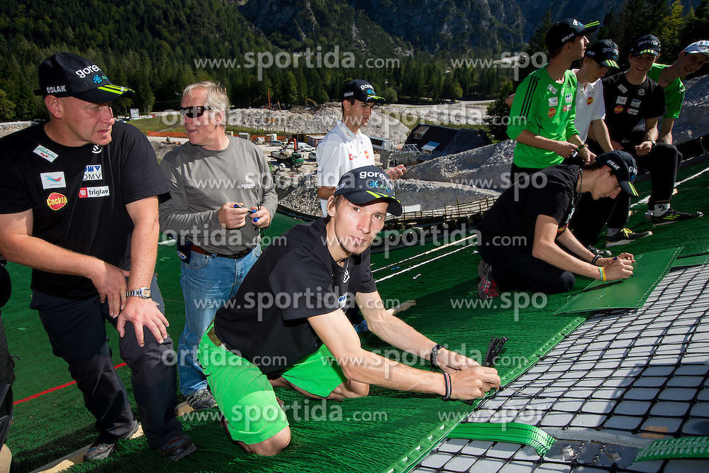 Goran Janus, Robert Kranjec at media day of Slovenian Ski jumping team during construction of two new 120m and 100m hills in Planica on September 18, 2012 in Planica, Slovenia. (Photo By Vid Ponikvar / Sportida)