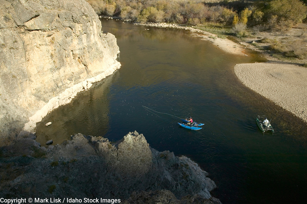 (MR) Fly fishing the deep hole at indian rocks on the South Fork of the Boise River, Idaho.