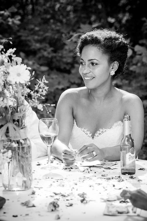 A bride at her wedding's outdoor reception in Brattleboro, VT.