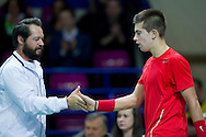 (L) Zeljko Krajan - captain national team and (R) Borna Coric of Croatia during the BNP Paribas Davis Cup 2014 between Poland and Croatia at Torwar Hall in Warsaw on April 4, 2014.<br /> <br /> Poland, Warsaw, April 4, 2014<br /> <br /> Picture also available in RAW (NEF) or TIFF format on special request.<br /> <br /> For editorial use only. Any commercial or promotional use requires permission.<br /> <br /> Mandatory credit:<br /> Photo by © Adam Nurkiewicz / Mediasport